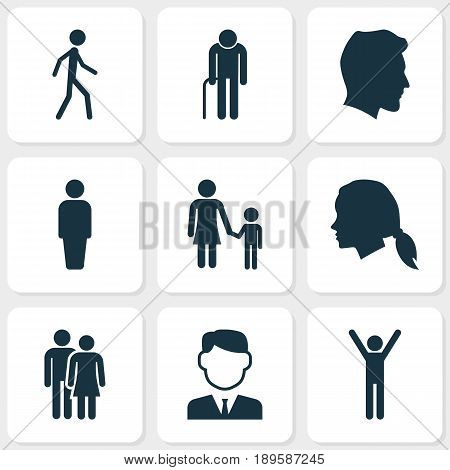 People Icons Set. Collection Of Beloveds, Jogging, Male And Other Elements. Also Includes Symbols Such As Member, Male, Old.