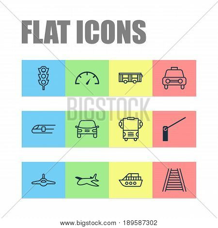 Transportation Icons Set. Collection Of Speed Checker, Boat, Automobile And Other Elements. Also Includes Symbols Such As Roadblock, Train, Travel.