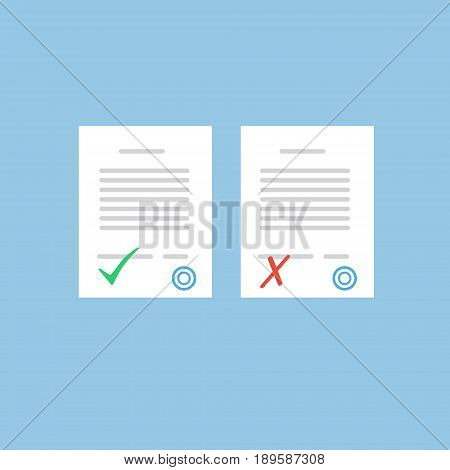Document approve or not approve. Flat form icons isolated