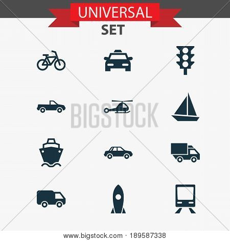 Shipment Icons Set. Collection Of Spaceship, Stoplight, Truck And Other Elements. Also Includes Symbols Such As Car, Truck, Cabriolet.