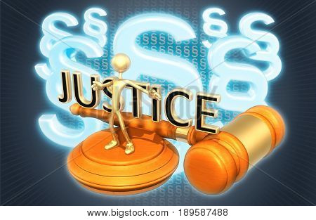 Obstruction Of Justice Law Concept With The Original 3D Character Illustration