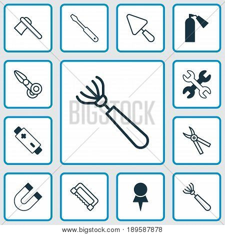 Tools Icons Set. Collection Of Spanner, Putty, Firefighter And Other Elements. Also Includes Symbols Such As Harrow, Scapula, Polarity.