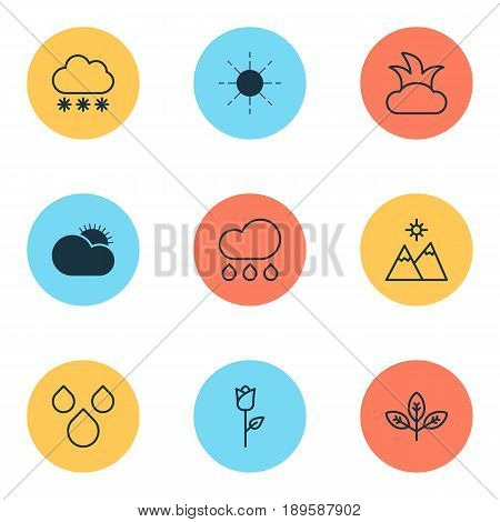 Harmony Icons Set. Collection Of Bush, Snowstorm, Sprout And Other Elements. Also Includes Symbols Such As Cloudburst, Drop, Flower.