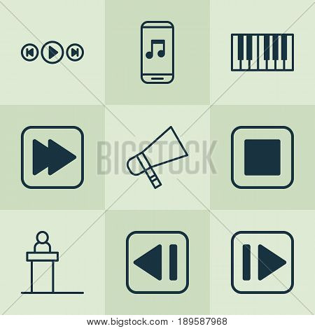 Music Icons Set. Collection Of Audio Buttons, Audio Mobile, Stop Button And Other Elements. Also Includes Symbols Such As Back, Mobile, Piano.