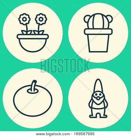 Gardening Icons Set. Collection Of Dwarf, Herb, Radish And Other Elements. Also Includes Symbols Such As Elf, Dwarf, Tomato.