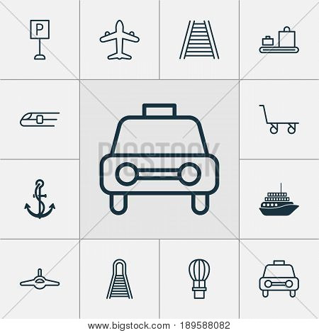 Transport Icons Set. Collection Of Roadsign, Cruise, Plane And Other Elements. Also Includes Symbols Such As Roadsign, Car, Cruise.