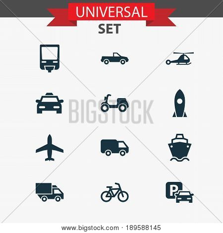 Shipment Icons Set. Collection Of Van, Road Sign, Cabriolet And Other Elements. Also Includes Symbols Such As Parking, Airplane, Scooter.