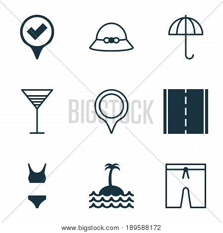 Tourism Icons Set. Collection Of Aperitif, Bathing Costume, Swimming Clothes And Other Elements. Also Includes Symbols Such As Gingham, Mark, Snapshot.