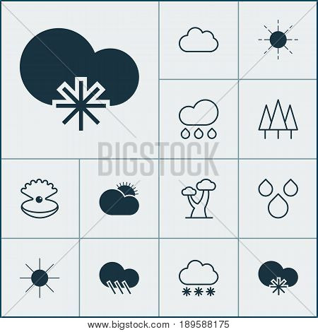 World Icons Set. Collection Of Snowstorm, Cloud, Rain And Other Elements. Also Includes Symbols Such As Tree, Sun, Rain.