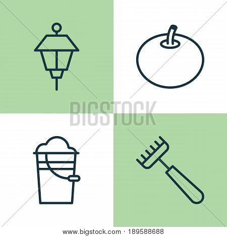 Icons Set. Collection Of Bucket, Rake, Lantern And Other Elements. Also Includes Symbols Such As Park, Rake, Lantern.