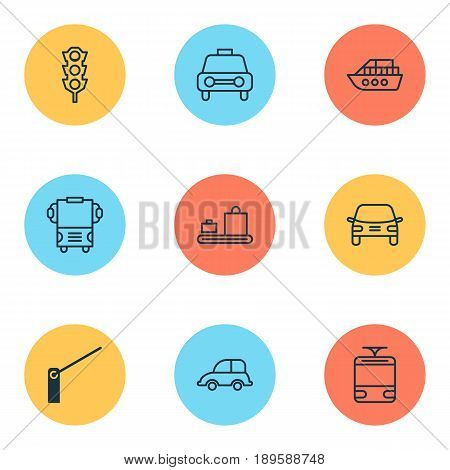 Shipping Icons Set. Collection Of Auto Car, Automobile, Baggage Carousel And Other Elements. Also Includes Symbols Such As Traffic, Automobile, Barricade.