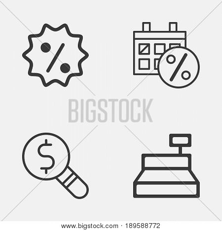 Commerce Icons Set. Collection Of Till, Rebate Sign, Business Inspection And Other Elements. Also Includes Symbols Such As Till, Day, Sale.