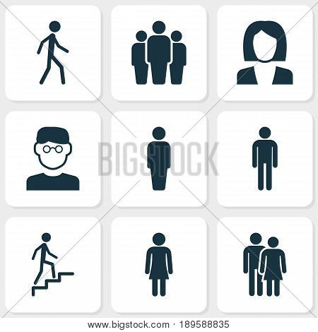 Human Icons Set. Collection Of Businesswoman, Beloveds, Scientist And Other Elements. Also Includes Symbols Such As Smart, Jogging, Man.