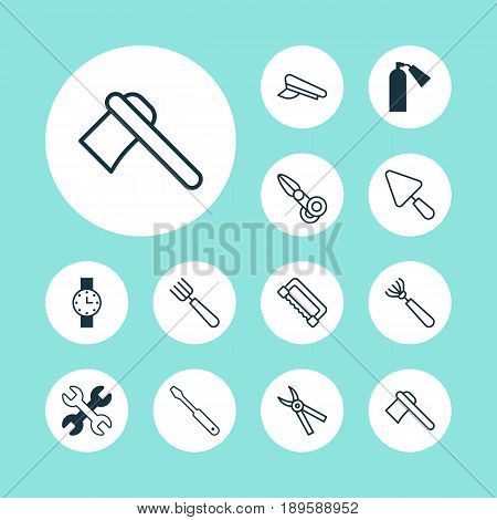 Tools Icons Set. Collection Of Timer, Tomahawk, Turn Screw And Other Elements. Also Includes Symbols Such As Tomahawk, Axe, Harrow.