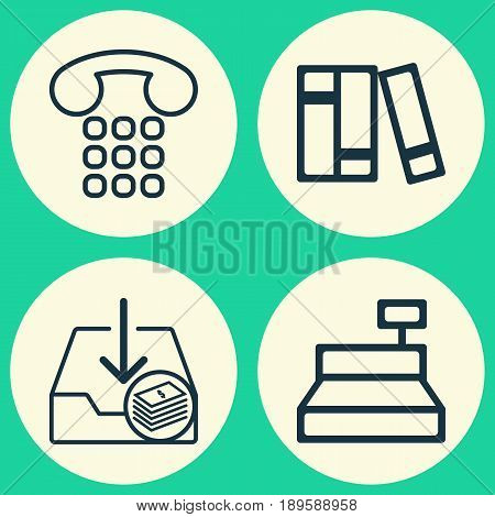 Commerce Icons Set. Collection Of Till, Withdraw Money, Callcentre And Other Elements. Also Includes Symbols Such As Books, Money, Catalog.