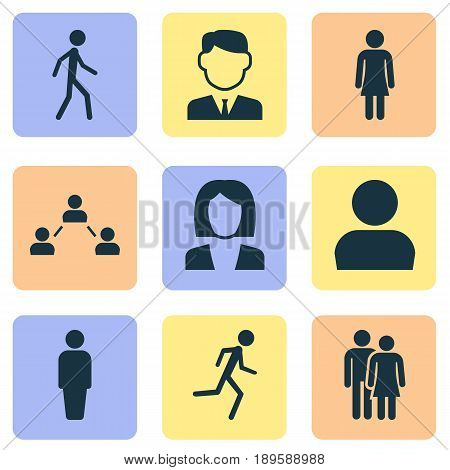 Person Icons Set. Collection Of Beloveds, Running, Member And Other Elements. Also Includes Symbols Such As Man, Member, Gentlewoman.