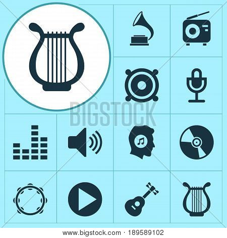 Multimedia Icons Set. Collection Of Start, Meloman, Lyre And Other Elements. Also Includes Symbols Such As Harp, Mic, Button.