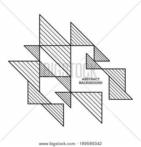 Abstract geometric composition background modern art design style and futurism. Simplicity black and white line design element can be used for poster print backdrop vector illustration