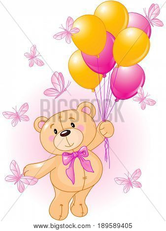 Girl teddy bear floating away with butterflies and balloons