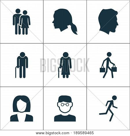 Human Icons Set. Collection Of Businesswoman, Scientist, Male And Other Elements. Also Includes Symbols Such As Smart, Job, Gentlewoman.