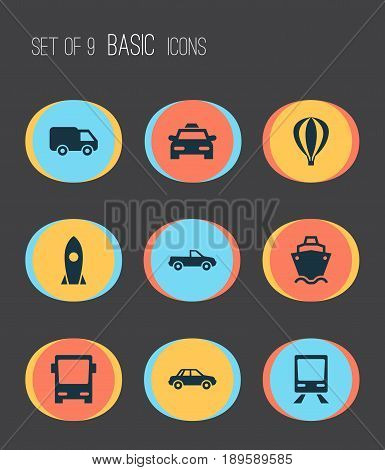 Transport Icons Set. Collection Of Cabriolet, Spaceship, Truck And Other Elements. Also Includes Symbols Such As Air, Truck, Balloon.