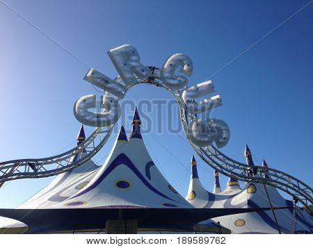 Kerikeri New Zealand (NZ) - May 7 2017: Circus big top on a sunny day in Kerikeri
