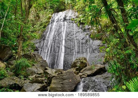Waterfall in a tropical rain forest in Puerto Rico