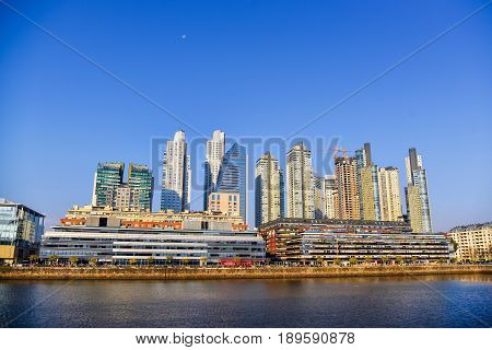 Evening view at the waterfront in Puerto Madero Buenos Aires Argentina.
