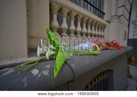 Buenos Aires Argentina - 2 Nov 2015: Wreaths seen outside the Russian embassy in Buenos Aires in memory of A-321 air crash victims.