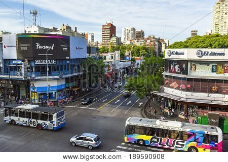 Buenos Aires Argentina - 17 Mar 2016: Aerial daytime view of the Cabildo Avenue with buses and pedestrians.