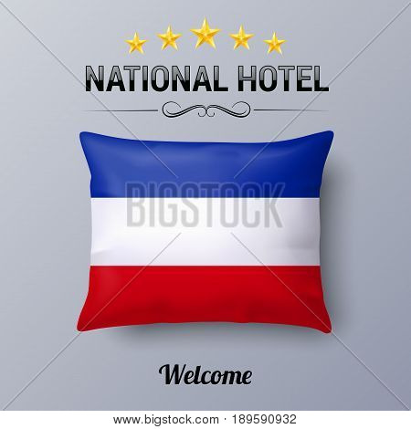 Realistic Pillow and Flag of Yugoslavia as Symbol National Hotel. Flag Pillow Cover with Yugoslavian flag
