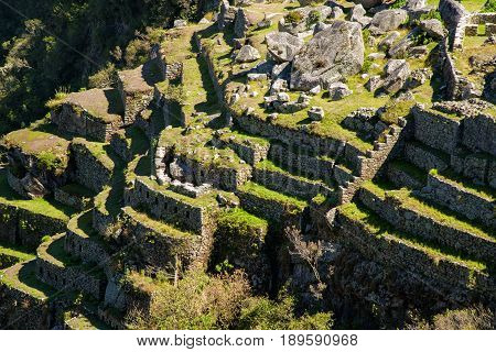 View of the terraces of Machu Picchu near Cusco Peru. Machu Picchu is a Peruvian Historical Sanctuary.