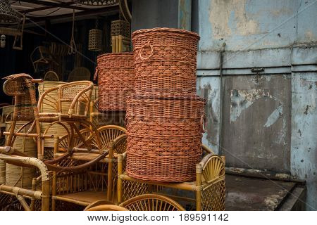 bamboo rotan handmade traditional object handicrafts stack in lenteng agung jakarta indonesia java poster