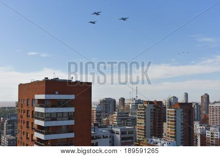 Buenos Aires Argentina - 27th May 2017: Three Lockheed C-130 Hercules of the Argentine Air Force during the celebrations of the 207th anniversary of the May Revolution in Buenos Aires.