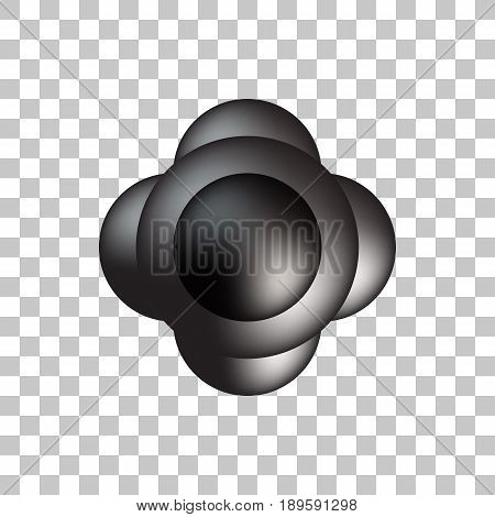Black premium round bubble badge, sphere, ball, button template with realistic reflex and transparent background for logo, design concepts, banners, web, apps, prints. Vector illustration.