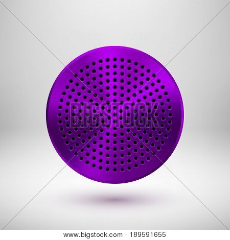 Violet, purple technology circle badge, abstract geometric perforated button template with metal texture, chrome, silver, steel and realistic shadow for logo, design, web, apps. Vector illustration.