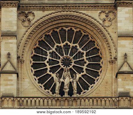 Notre Dame de Paris closeup view as the famous city landmark.