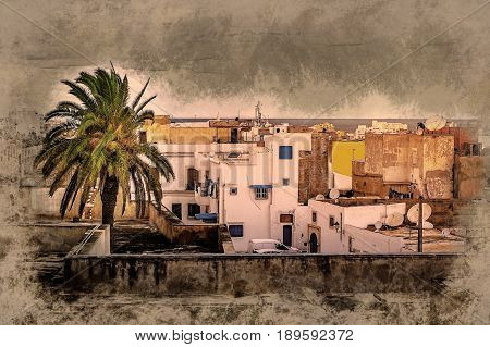 A street in Medina in Sousse, Tunisia. Magical space of medieval town with colorful walls and green palm tree. poster