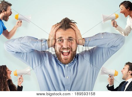 Stress concept with colleagues who screams to businessman
