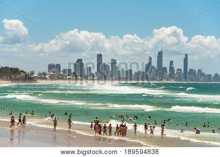 Burleigh Beach At Coolangata With Gold Coast Skyline