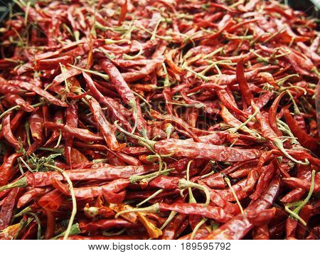 heap of whole dried red chilli pepper