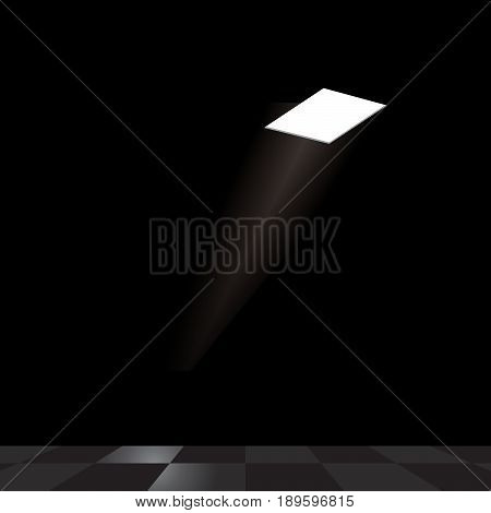 A ray of light falls from the illuminated rectangular opening in the ceiling onto the tiled floor.