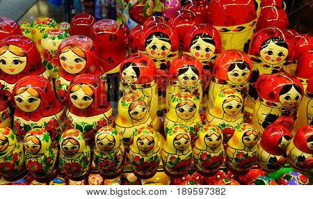 Wooden Dolls For Sale At Souvenir Shop