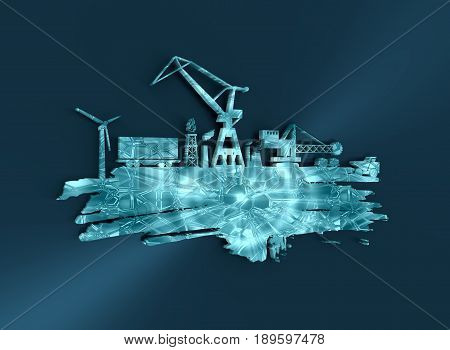 Energy and Power icons set and grunge brush stroke. Energy generation and heavy industry relative image. 3D rendering