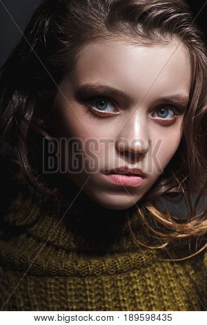 model girl with wet hairsyle, tests portrait over white background