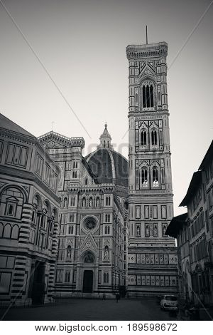 Duomo Santa Maria Del Fiore in Florence Italy closeup street view black and white.