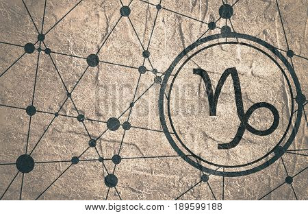 Zodiac symbol in circle. Concrete grunge texture. Molecule And Communication Background. Connected lines with dots. Modern  brochure, report or cover design template. Sign of the Capricorn