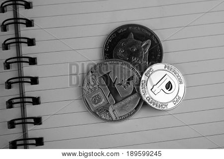 Digital currency physical litecoin doge coin peercoin.