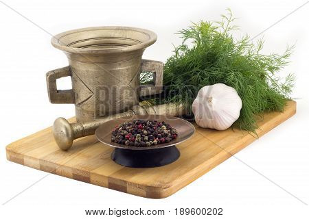 Composition Of Spices,mix Five Tellicherry Peppers , Dill, Garlic, Vintage Spice Grinder Isolated On