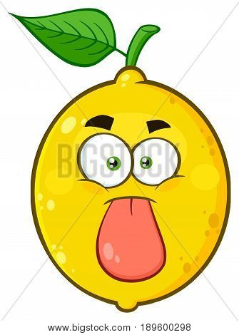 Funny Yellow Lemon Fruit Cartoon Emoji Face Character Stuck Out Tongue. Illustration Isolated On White Background